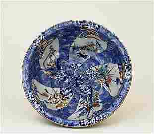 1930 Japanese Imari Dragon Lobe Punch Bowl Sg