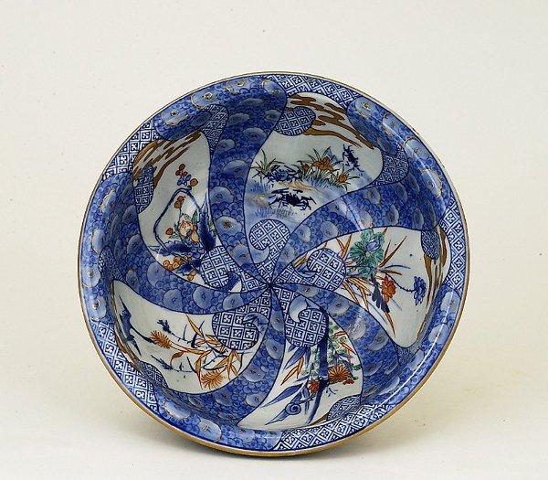 17: 1930 Japanese Imari Dragon Lobe Punch Bowl Sg