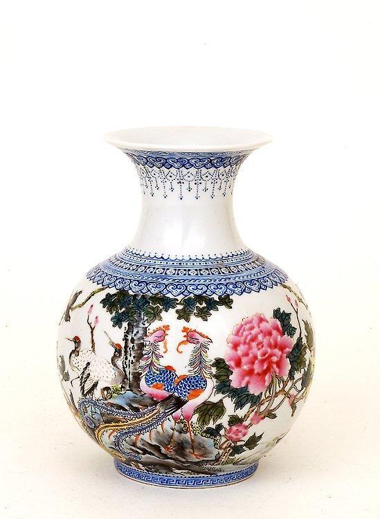 19: 1950 Chinese Enamel Famille Rose Vase Mk
