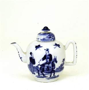 19C Chinese Blue & White Teapot Man RideHorse