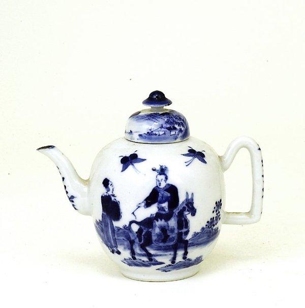 20: 19C Chinese Blue & White Teapot Man RideHorse
