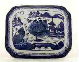 19C Chinese Canton Export Blue & White Tureen