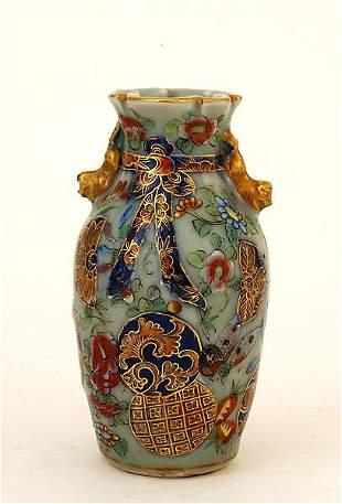 19C Chinese Celadon Rose Medallion Ribon Vase