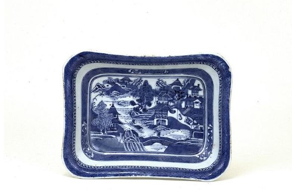 24: 19C Chinese Export Canton Blue & White Plate