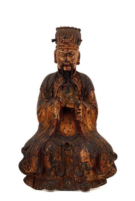 214: 16C Chinese Gilt Lacquer Bronze Buddha God