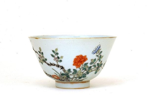 1013: Old Chinese Famille Rose Peony Bowl Mk