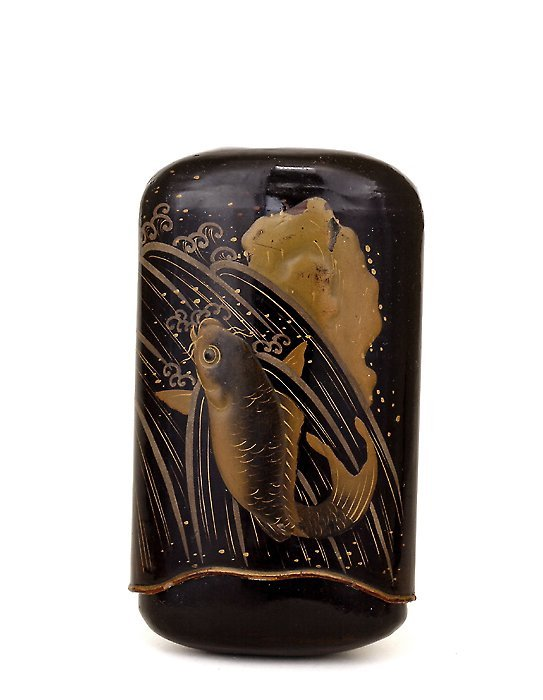 1016: Old Japanese Lacquer Cigarette Case with Koi Fish