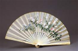1146 Old Japanese Ivory Embroidery Silk Fan Chrysanthe