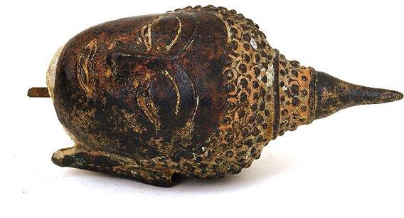 1168: 19C Thai Tibetan Bronze Buddha Head