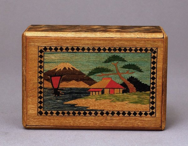 1175: Vintage Japanese Wood Inlaid Puzzle Box w Farm Sc