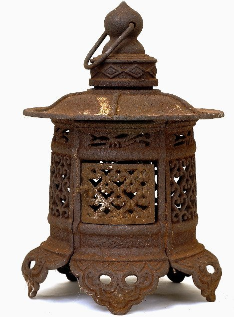 1185 Old Japanese Cast Iron Pagoda Lantern Garden Lamp