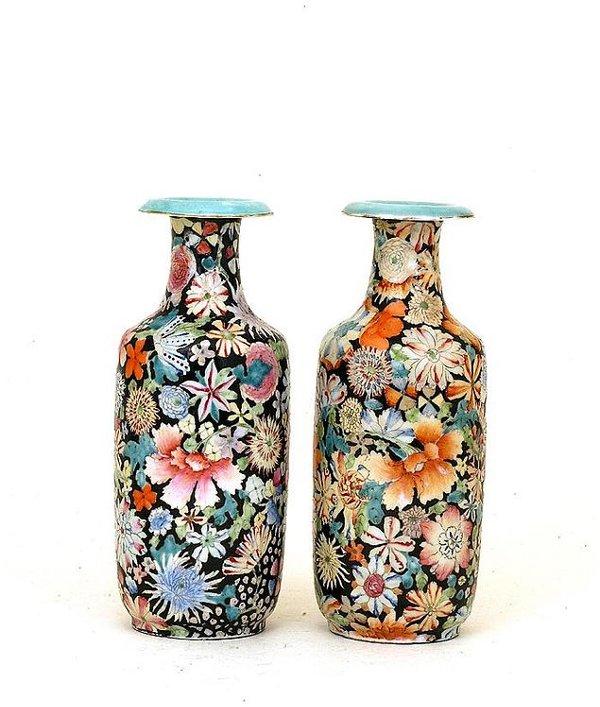 340: Pair 19C Chinese Famille Verte Mille Flure Vase