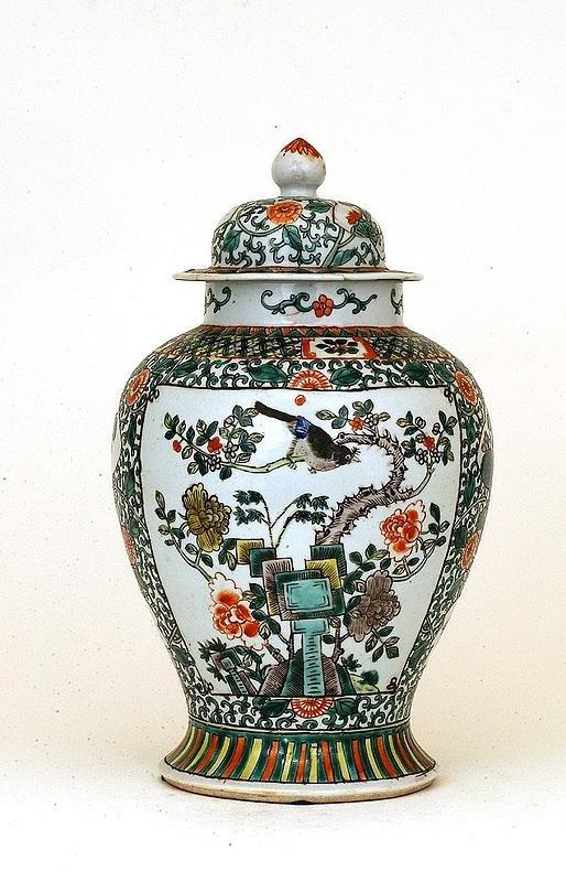 341: Lg Old Chinese Famille Rose Porcelain Covered Vase