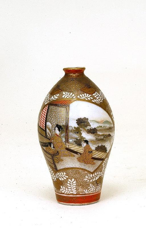 342: Meiji Japanese Kutani Satsuma Vase w Geisha & Boy