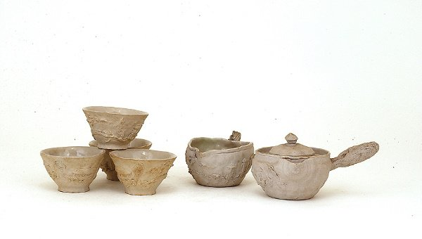 343: Old Japanese Banko Ware 7 Pc Teaset Relief Scene M