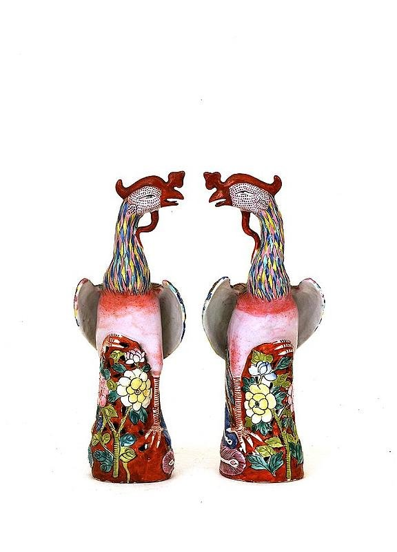 344: Pair Old Chinese Export Famille Rose Phoenix Bird