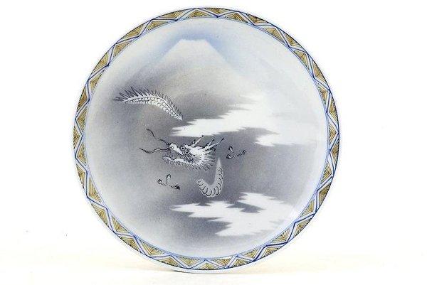 346: Old Japanese Studio Imari Plate Dragon Mt.Fuji Sg