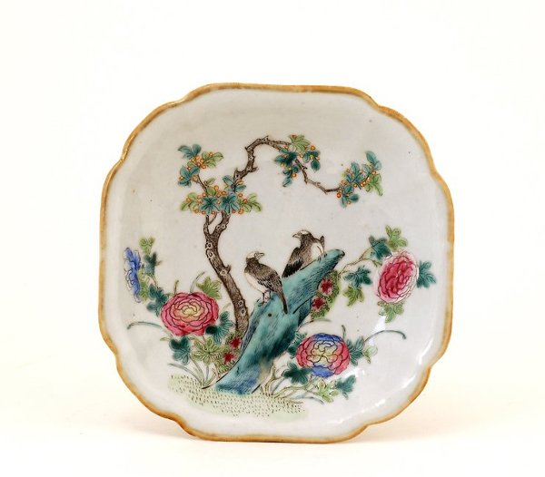 347: Old 1930s Chinese Famille Rose Plate Eagle Mk