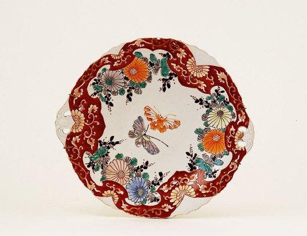 348: 19C Japanese Imari Butterfly Tray Platter