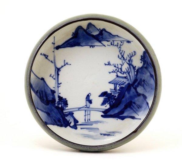 350: Japanese Studio Famble Glaze Blue White Imari Bowl