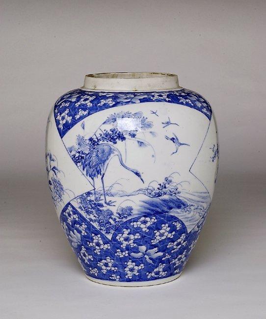 352: Lg Old Japanese Blue & White Imari Seto Jar