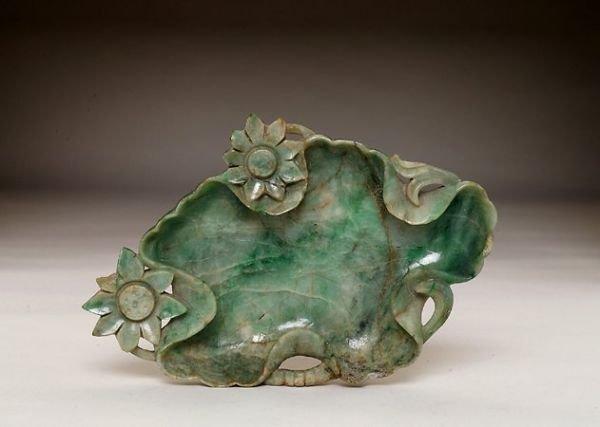 357: 19C Chinese Jade Jadeite Nephrite Lotus Dish