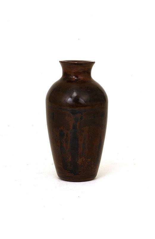 358: Old Chinese Peking Glass Vase Wood Grain Style