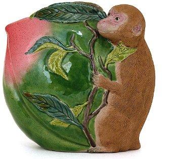359: Old Japanese Banko Ware Monkey w Peach Wall Vase