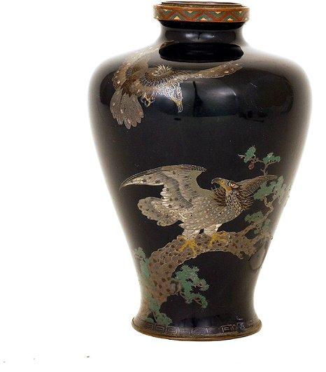 362: Meiji Japanese Cobalt Blue Cloisonne Vase 2 Eagle