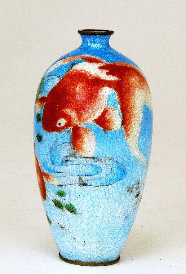 369: Old Japanese Ginbari Cloisonne Vase w Goldfish