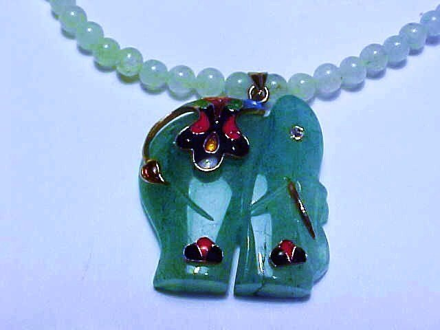 VINTAGE JADE ELEPHANT NECKLACE