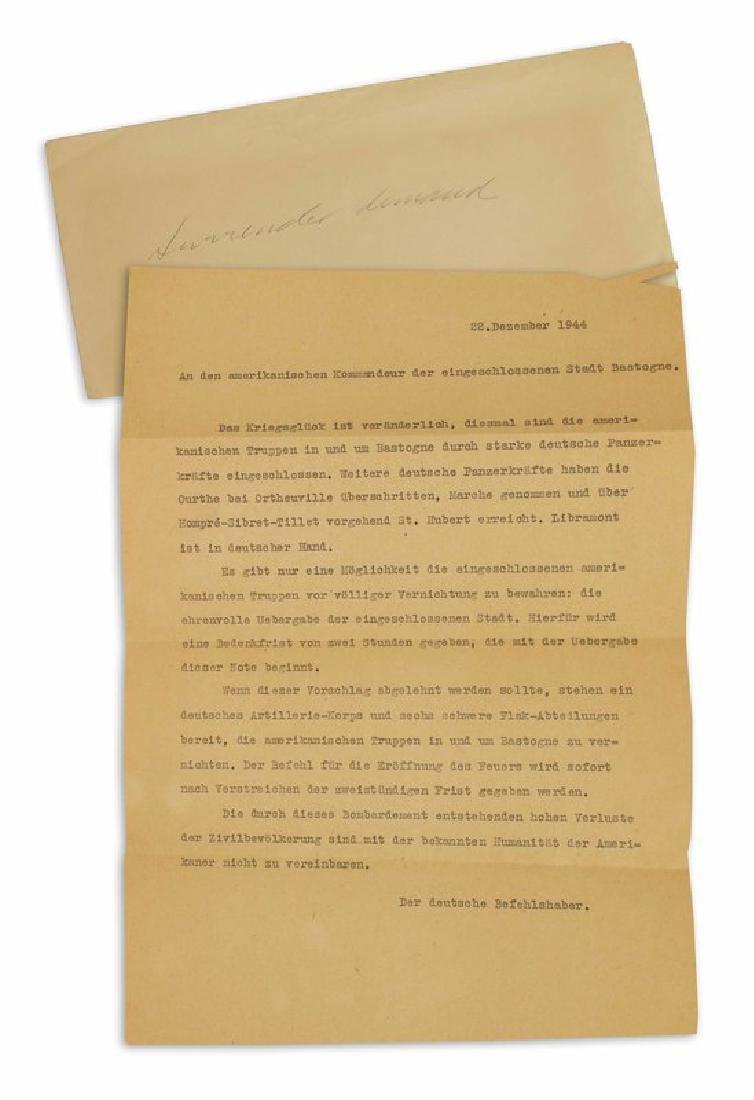 Original German Surrender Offer to General McAuliffe,
