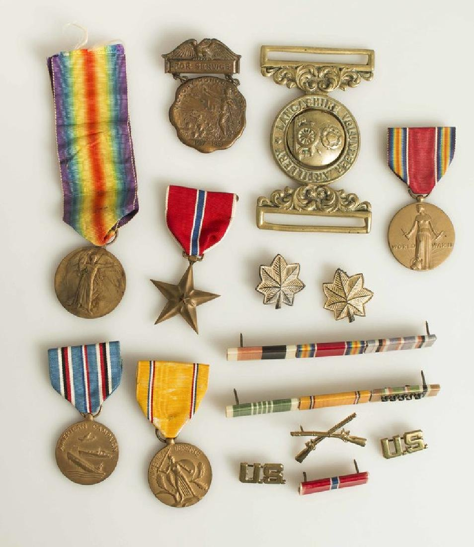 British Belt buckle, US Bronze Star Medal group, and