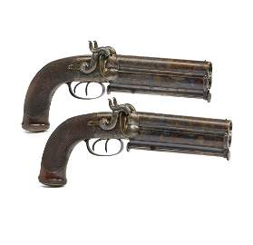 Pair of Wilkinson Over and Under Double Barreled Howdah
