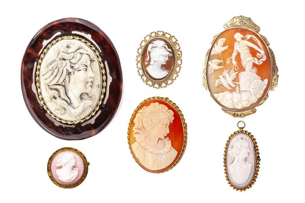 Six Assorted Cameo Brooches/Pendants