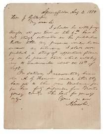 1858 Abraham Lincoln Handwritten Letter
