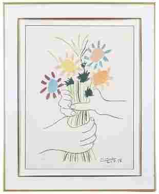 """Pablo Picasso (1881-1973) Lithograph, """"Mains Aux"""