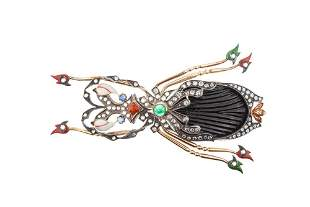 Enamel Gold Insect Brooch