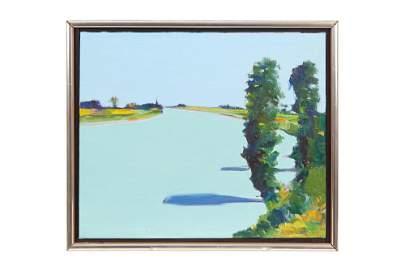 "Gregory Kondos (1923-2021) Painting ""Levee Trees,"