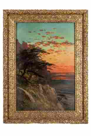 """Frederick Schafer (1839-1927) Painting, """"Sunset on"""