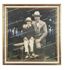 Vintage Hand Colored Silver Print of Al Capone and