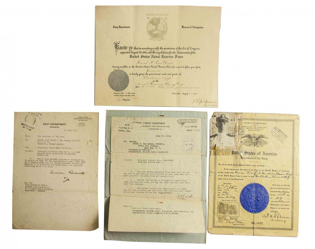 Scarce Document Group to WWI Naval Aviator Lieutenant