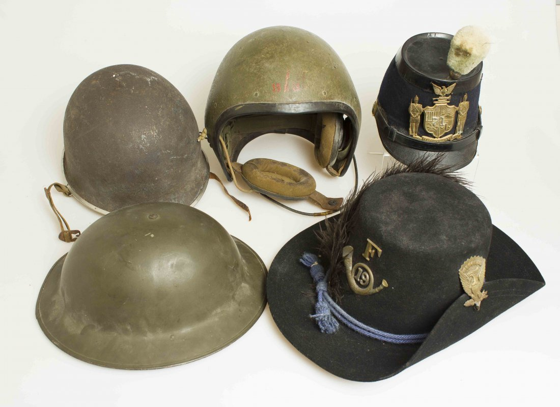 Group of U S  Helmets, Shakos and Military Hats