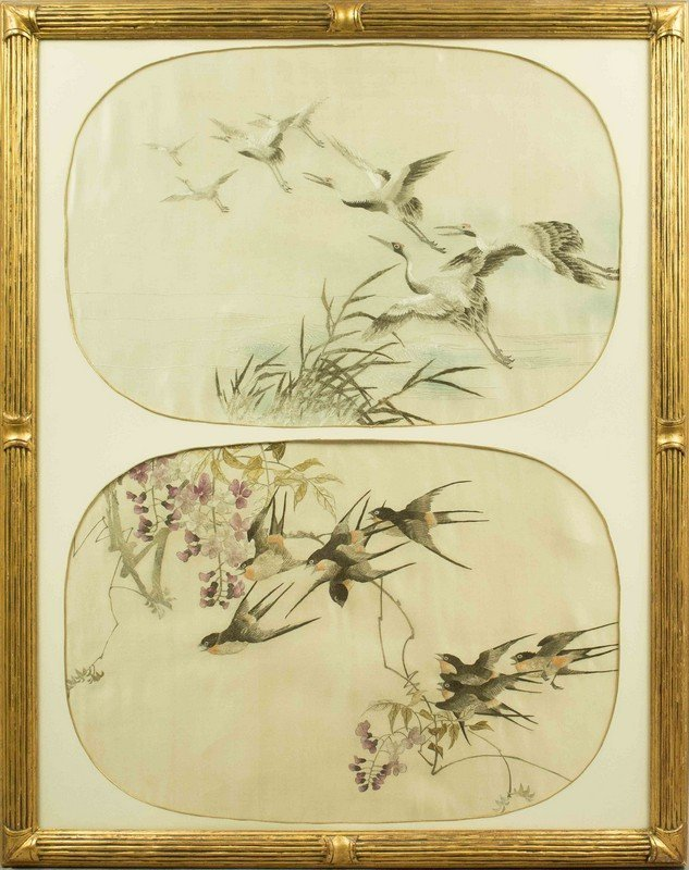 Framed Pair of Asian Embroidery Nature Scenes