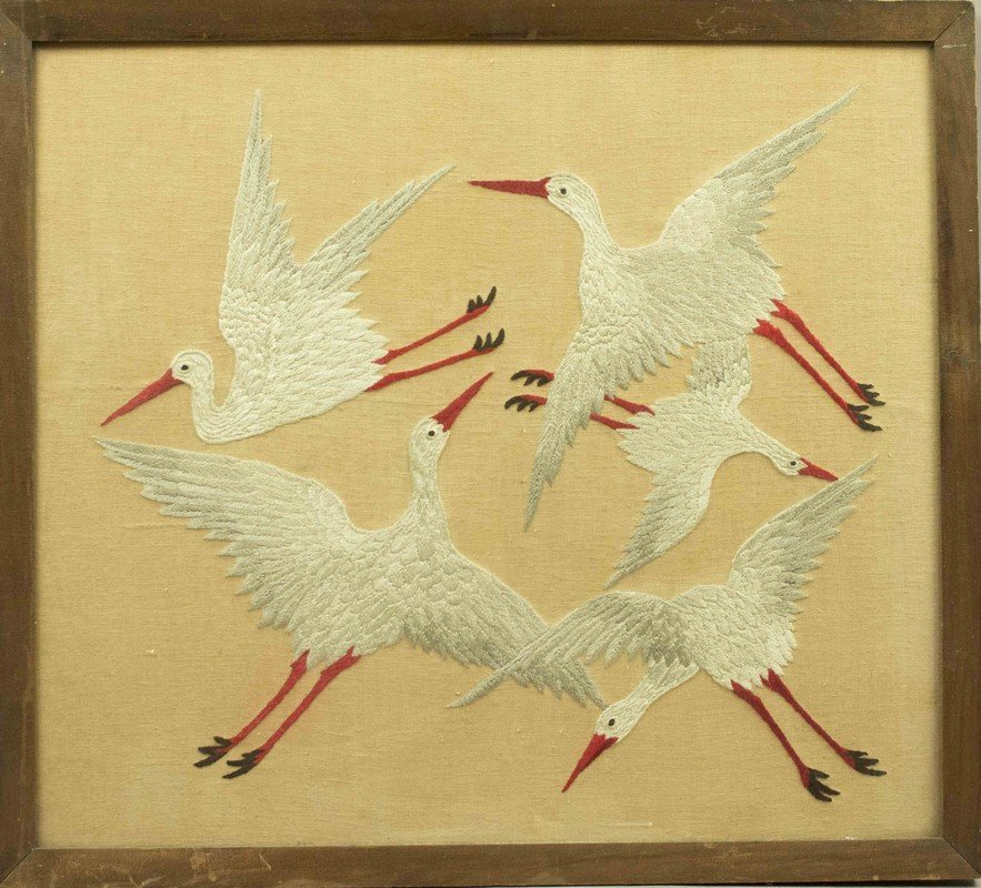 Asian Embroidery Picture of Cranes
