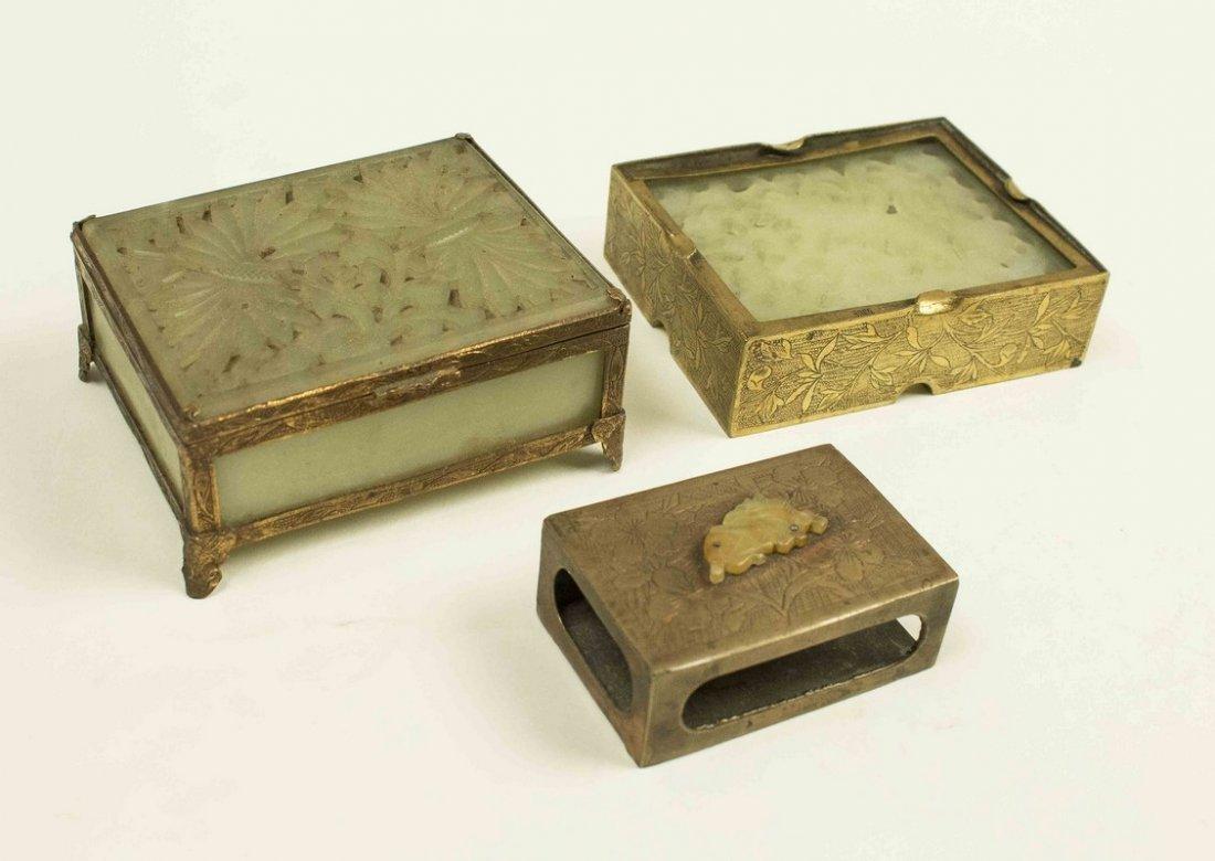 Jade Cigarette Case, Ash Tray & Match Cover