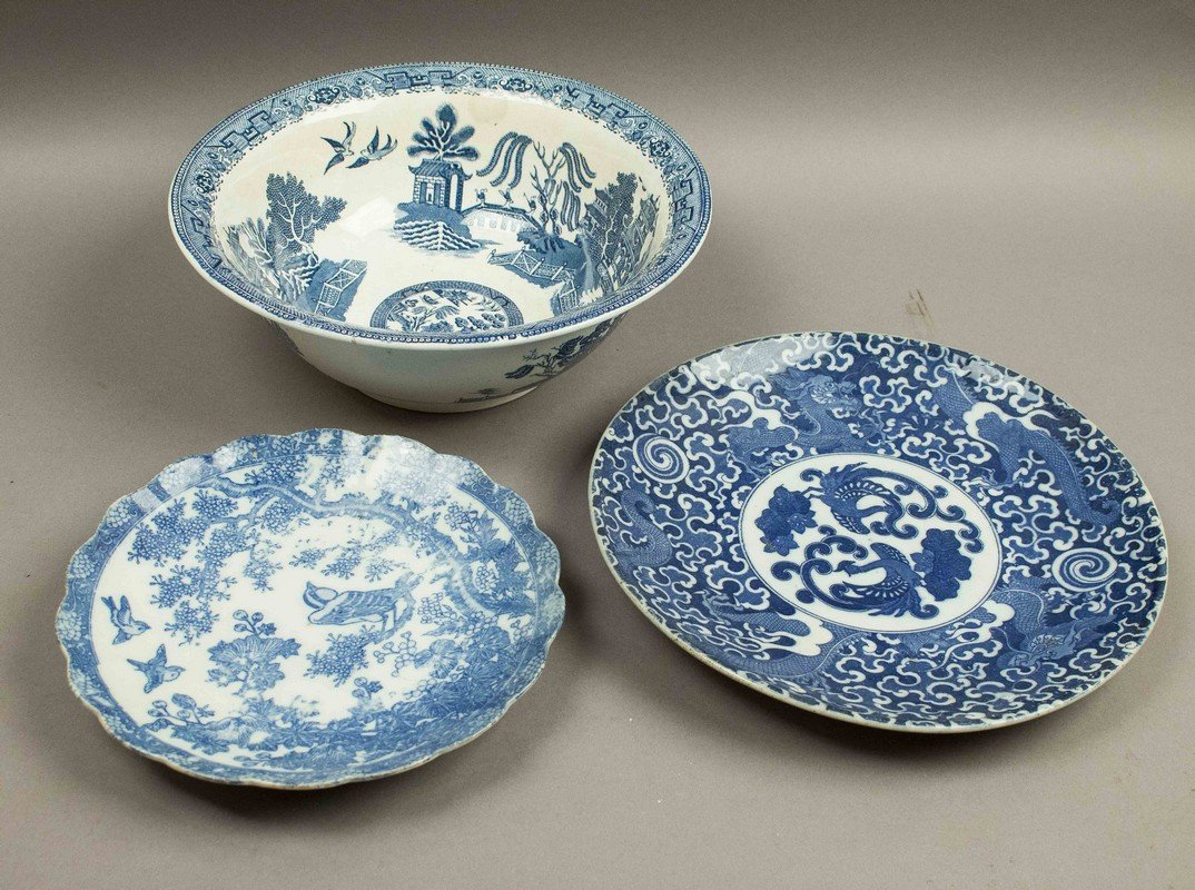 3 Pieces Asian Blue & White Ceramics