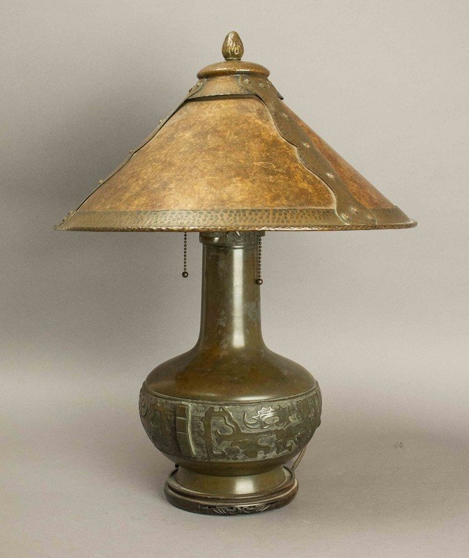 Chinese Lamp Base with Mica Lampshade
