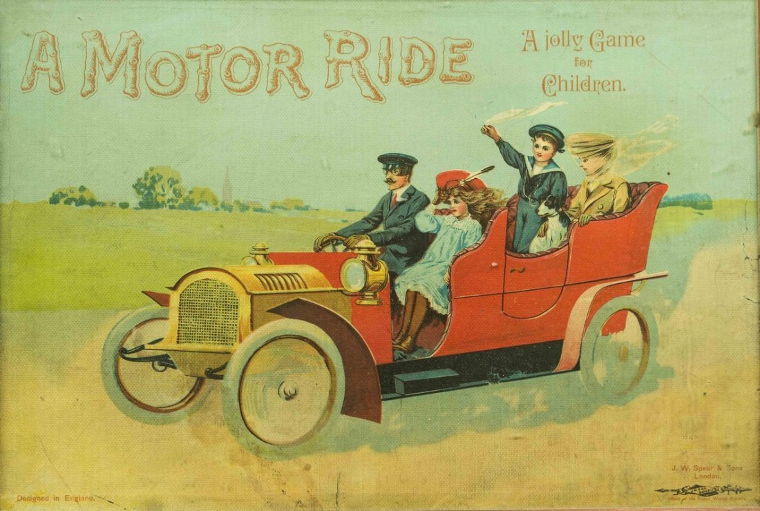 """Framed """"A Motor Ride"""" Game Board Cover"""