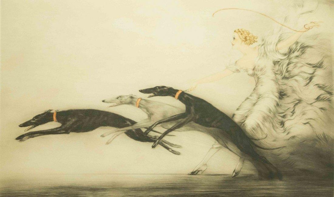 "Louis Icart Original Art Deco Print, ""Speed"""